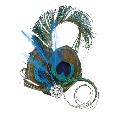 Vintage Bridal Hair Flower Clip Peacock Feather Headpiece Fascinator Hairpin
