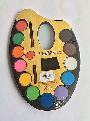 Artist palette with paints and brush, craft, art supplies, kids, free post!