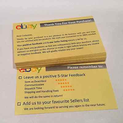 35 pcs Thank You For Your Ebay Purchase Seller Notes Card Printing Duplex Label