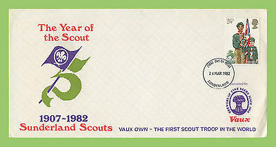 G.B. 1982 26p Scouts on Sunderland Scouts First Day Cover, Sunderland cds