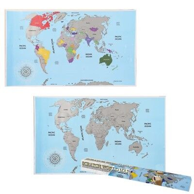 Large Scratch World Map Off Gift Personalised Travel Vacation Poster Holiday Log