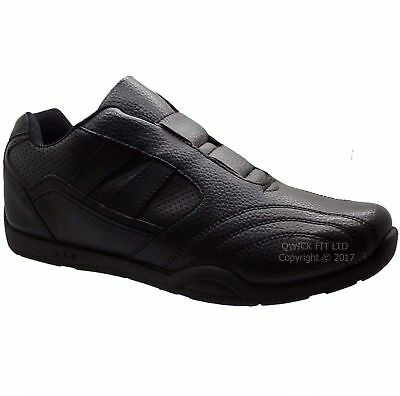 New Mens Black Running Slip On Casual Trainers Walking Sport Shoes Boots uk 6-12