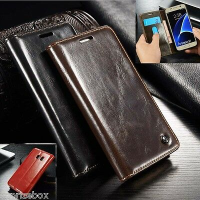 Designer Genuine Leather Retro Wallet Stand Case Cover  Samsung S7 S8 Note 8 S9