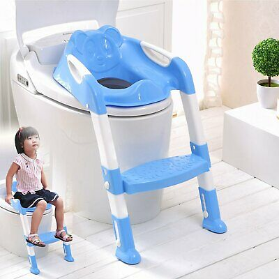 Blue Toilet Potty Training Step Ladder Loo Seat Baby Kids/toddler/child Fun Easy