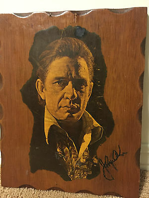 Unique Signed Johnny Cash Wooden Plaque Autograph - It's possibly one of a kind