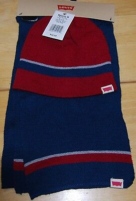 Levi's Scarf & Hat Set 100% Authentic Red And Blue