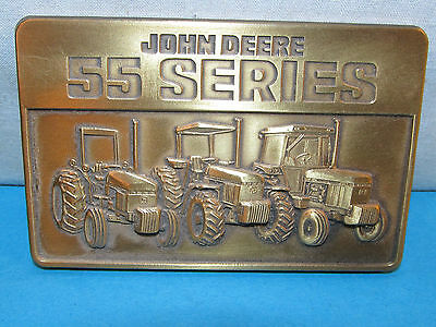 Vintage  ** JOHN DEERE ** 55 Series Brass Belt Buckle Tractor 1987