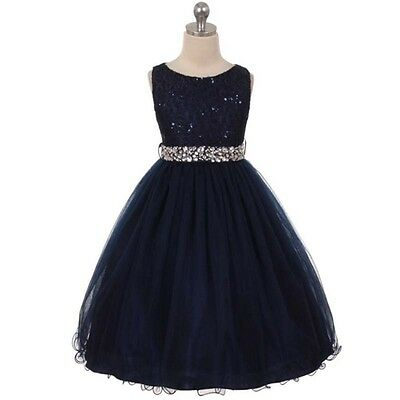 NAVY BLUE Flower Girl Dresses Birthday Wedding Bridesmaid Formal Party Pageant