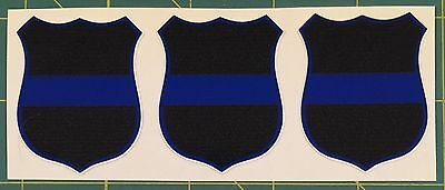 Thin Blue Line Badge Shield Decal Stickers 3 PACK FREE SHIPPING!