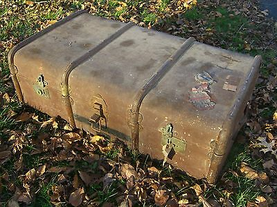 Antique Canvas over Wood Steamer Trunk w/ tray & White Star/Cunard Stk c.1900