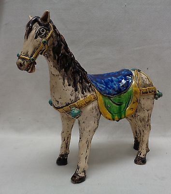 "Very Nice Vintage Decorative Horse Statue w. Colorful Saddle- 12"" x 12"" x 5"""