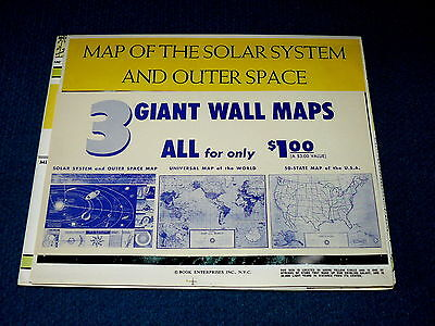 Vintage/New! 3 GIANT WALL MAPS : Solar System/USA/World @ BOOK ENTERPRISES