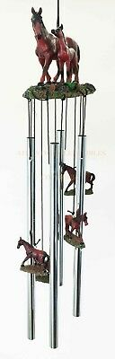 Brown Horse with Foal Family Resonant Relaxing Wind Chime Garden Patio Decor