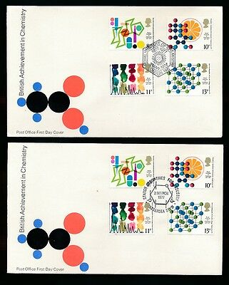 1977 CHEMISTRY FDCs...STARCH DERIVATIVES BATTERSEA + ROYAL INSTITUTE...2 COVERS