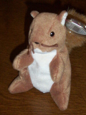 Retired Ty Beanie Baby Nuts The Squirell Mint With Tags