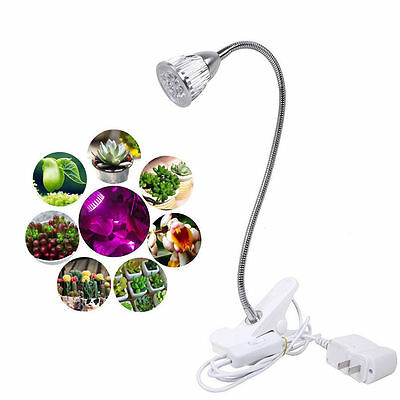 For Indoor Garden LED Grow Light 5W Hydroponic Plant Desk Flexible Clip On Lamp