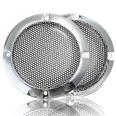 "2Pcs 4"" Inch Silver Circle Speaker Decor w/ Protective Grille For Horn Audio UK"