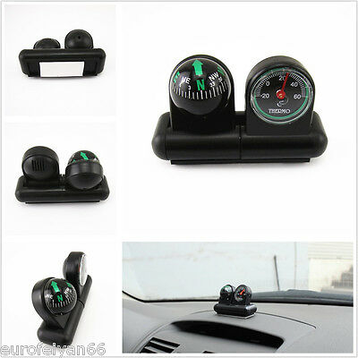 One Pcs 2in1 Autos Van Pickup Interior Center Console Compass & Thermometer Tool