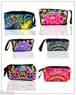 Ethnic 3pcs Chinese Vintage Ethnic Retro Embroiderd Clutch Purse Wallet Pouch