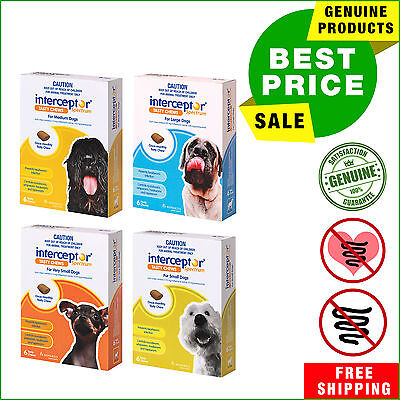 Interceptor Spectrum Heartworm treatment for Dogs 6 chews by Novartis All sizes