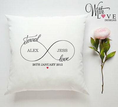 Eternal Love Couple Wedding Personalised Custom Pillow Cushion Present Gift