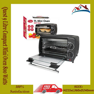 Quest 9 Litre Compact Mini Oven 800 Watts with Thermostat Timer in Black New