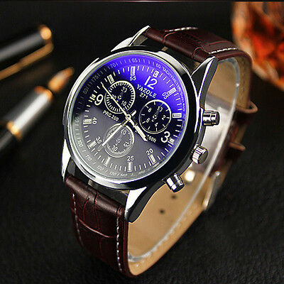 Neu Luxus Mode Herren Crocodile Faux Leder Mens Analog Watch Watches Armbanduhre