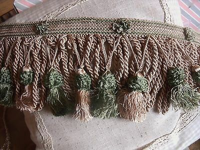 V4 Ancien Galon Passementerie Royal Franges Torsees Pompons Beige Vert Foret