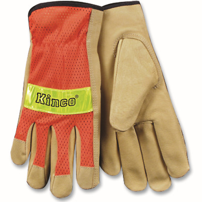 KINCO 909-S Men's Unlined Grain Pigskin Mesh Back Gloves, Safety, Small, Orange