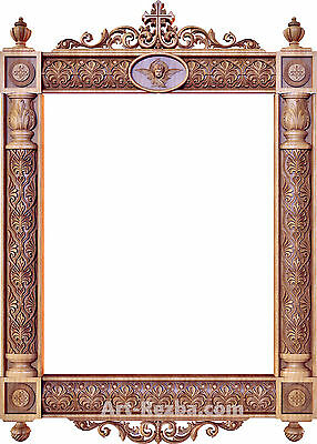 "32"" Kiot 3D Art Orthodox Wood Carved Icon large frame"