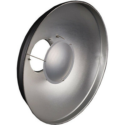 Beauty Dish 40cm + Shower Cap Diffuser - Universal Fitting Mount - Silver