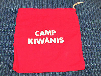Vintage CAMP KIWANIS Draw String Bag Red Cloth Sack Carry All Tote Gear