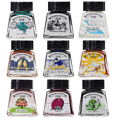 Winsor & Newton Artist Drawing Ink 14ml Brush, Dip Pen, Airbrush - 26 Colours