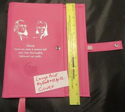 """Alcoholics Anonymous AA Big Book 12&12 Deluxe LARGE PRINT Founders Pink""""COVER"""""""
