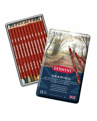Derwent Drawing Pencils Tin - Set of 12 Assorted Fine Artists Colours