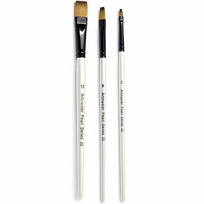 Artmaster Pearl Artist Watercolour Paint Brush - Flat I 6 Sizes Available