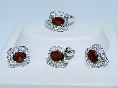 GENUINE 6.36tcw Mozambique Garnet Solid S/Silver 925 Set, Earrings/Pendant/Ring