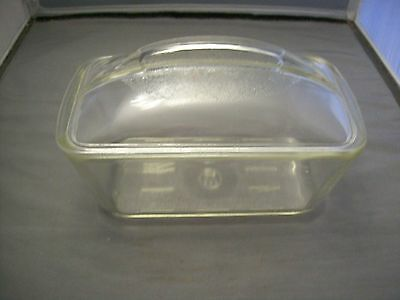 Vintage Clear Glass Refrigerator Dish With Lid Marked W