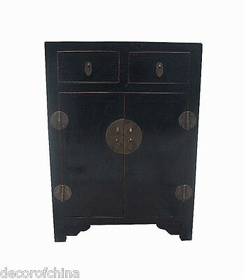 Black Chinese Wooden Side End Table Cabinet Cupboard w/2 Drawers & 2 Doors C18-6