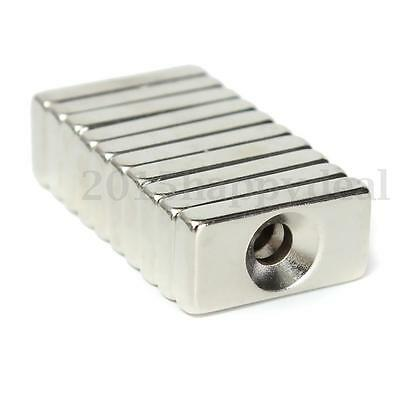 10x Strong Magnetic N52 Block Cuboid Neodymium Magnet 20x10x4mm Hole Industrial