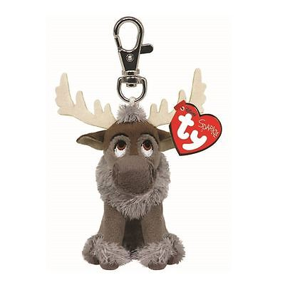 SVEN SPARKLE - Ty Beanie Babies Keyring Key Clip with Sound - Plush Frozen Teddy
