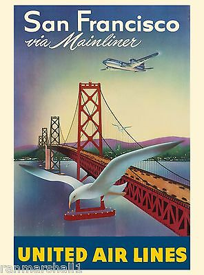 San Francisco Mainliner United States Amerca Travel Advertisement Art Poster