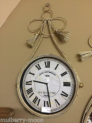 French Script Vintage Shabby Chic Cream Braided Hanging Wall Clock Home Decor