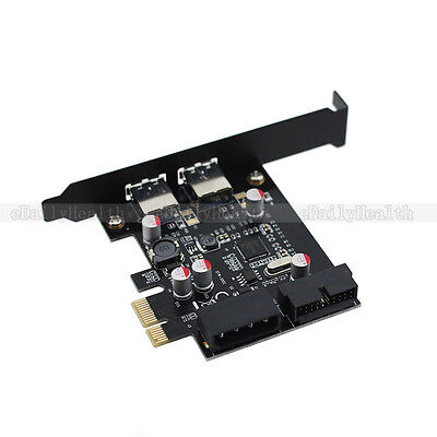 2 Port USB 3.0 5Gbps NEC Chipset PCi-E Express Add On Card con 20 Pin connettore