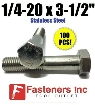 """(Qty 100) 1/4-20 x 3-1/2"""" Stainless Steel Hex Cap Screw / Bolt 18-8 / 304"""