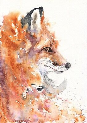 Fox watercolor Print of the Original Watercolor Painting foxy firefox beautiful
