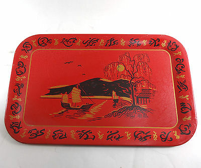 """Vintage mid century Metal trays rectangle Chinese Red 14"""" x 9"""" boat mountain"""