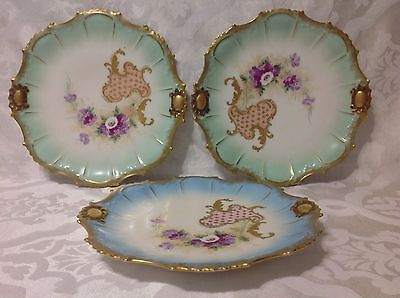 1891-1914 3ct Victorian AK/CD Limoges Fr Cabinet Plates in Green/Blue; Great