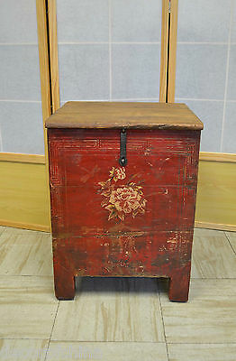 Chinese Antique Painted Wooden Side End Table Sitting Storage Trunk Chest J19-18