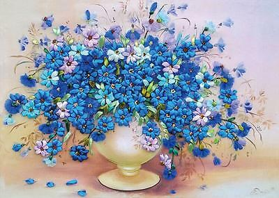 Ribbon Embroidery Kit Blooming Blue Flowers and Vase Needlework Craft Kit RE2001